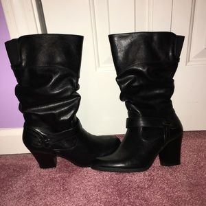 Black Mid Calf Slouchy Boots